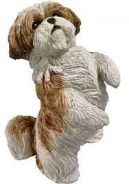 shih tzu dog statue gold white