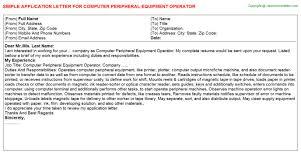 Computer Peripheral Equipment Operator Job Application Letter