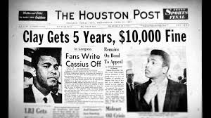 「1967, muhammad ali refuses military duty and taken out the title.」の画像検索結果