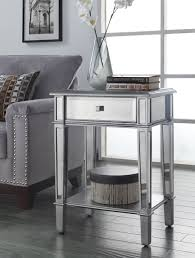 Mirrored Living Room Furniture Painted Silver Color Small Mirrored Accent Table With Drawer And