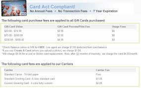 an outline of giftcards s fees and regulations linked in the fine print
