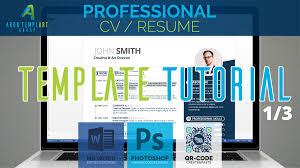 Professional Cv Resume Template Tutorial 1 3 Ms Word Adobe