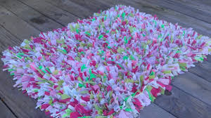 shabby chic rag rug gy rug recycled materials pink green white girls