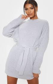 Light Grey Jumper Dress Light Grey Soft Touch Belted Knitted Jumper Dress