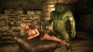 Owfull orc with fangs pokes girl 3D Sex