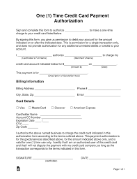Free One 1 Time Credit Card Payment Authorization Form Word