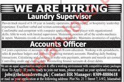 Laundry Supervisor Accounts Officer Jobs 2019 For