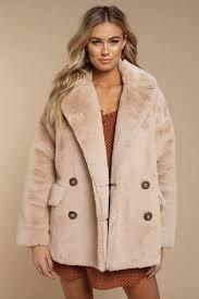 faux fur coats beige solid kate faux fur coat