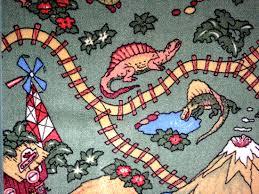 dinosaurs train floor rug