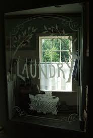 sandblasted glass door for laundry