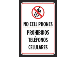 No Cell Phone Sign Printable No Cell Phones Prohibidos Telefonos Celulares Spanish Sign Red White Phone Symbol Business Office Signs Plastic 4 Pack