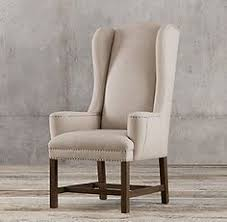 rh s belfort wingback fabric armchair handcrafted with a hardwood frame and solid oak legs our reion of the clic english wing chair has