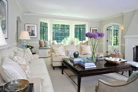 living room window design with sofa