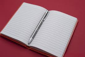 image of open notebook a ballpoint pen in the center