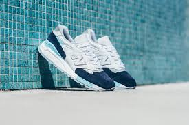 new balance blue. shades of blue and white cover this new balance 998