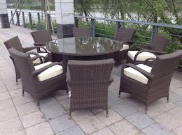 paradise 8 seater round brown rattan garden furniture dining set brand new in box