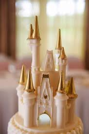 White Chocolate And Gold Cinderella Castle Wedding Cake Topper