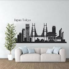 city skyline wall decals silhouette decal japan vinyl art
