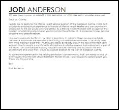 Crafting A Cover Letter Mental Health Worker Cover Letter Sample Cover Letter Templates
