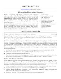Service Industry Resume Sample District Manager Resume District Food Operations Manager In 17