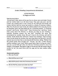 Free 4th Grade Reading Comprehension Worksheets Multiple Choice ...