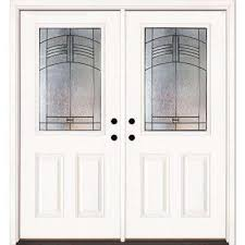 double front door white. Plain Door 66 In X 81625 Rochester Patina 12 Lite Unfinished Smooth Right Intended Double Front Door White L