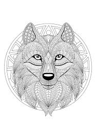 Mandala To Color With Patterns And Incredible Wolf Head Coloring
