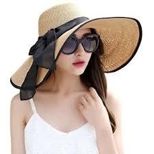 Image is loading Lanzom-Womens-Big-Bowknot-Straw-Hat-Foldable-Roll- Lanzom Womens Big Bowknot Straw Hat Foldable Roll up Sun Beach
