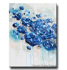 true blue large print canvas prints of original blue abstract floral painting peony flowers roses modern coastal wall art navy blue royal blue white  on royal blue and white wall art with art prints large art blue abstract painting colorful modern blue