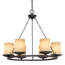 six light bronze candle chandelier