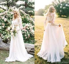 discount 2018 cheap two piece bohemian country wedding dresses