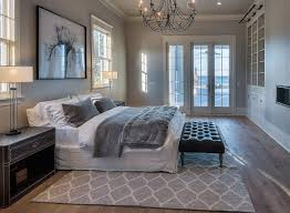 Grey Master Bedroom Paint Color Is Benjamin Moore Stonington Gray HC 170.  Chandelier.