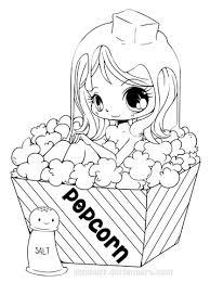 Chibi Popcorn Girl Kleurplaat Gratis Kleurplaten Printen