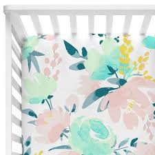 watercolor baby girls fitted crib sheet