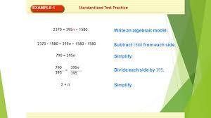 example 1 standardized test practice 2370 395n 1580 write an algebraic model
