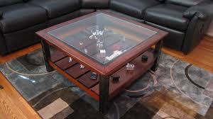 ... Coffee Table, Incredible Dark Red Square Minimalist Glass Display  Coffee Table Design: Latest Display ... Design