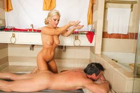 Stunning blonde Embry Prada massages her lover with oil before.
