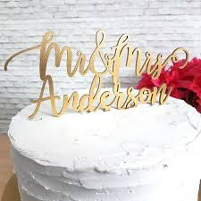Mr Mrs Script Custom Name Cake Topper 7226