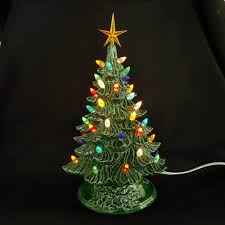 Vintage Style Ceramic Christmas Tree 11 Inches  Lights Glued In Miniature Christmas Tree With Lights