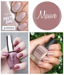 sally hansen s insta dri in making mauves is a nice pale mauve with a hint of shimmer it s a nice alternative the baby pinks we ve all been wearing for