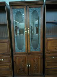 vintage wooden china cabinet glass doors shelves lighted furniture in naperville il offerup