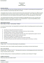 Lovely Decoration Security Guard Resume Example Security Guard Cv