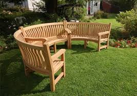 curved wooden garden benches