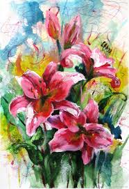 a painting gift flower paintings handmade watercolor lily flowers elenaberezyukart my livemaster