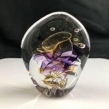 """🟢 BERNIE MERRITT Hand Blown Studio Art Glass 4 1/2"""" Paperweight ..."""