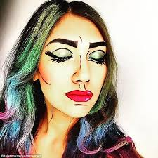 cartoon character this woman paired ic book make up with multicoloured hair pop art makeup tutorial