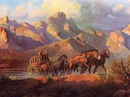love western paintings stage coach crossing the rillito by olaf weighorst