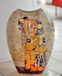 goebel porcelain vase with painting embrace by gustav klimt
