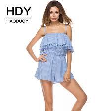 <b>HDY</b> Haoduoyi Sexy Striped <b>Bodysuits Women</b> Tassel Rufles ...