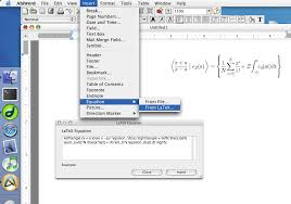 you can insert equations using the latex dialog insert equation from latex or you can import mathml files